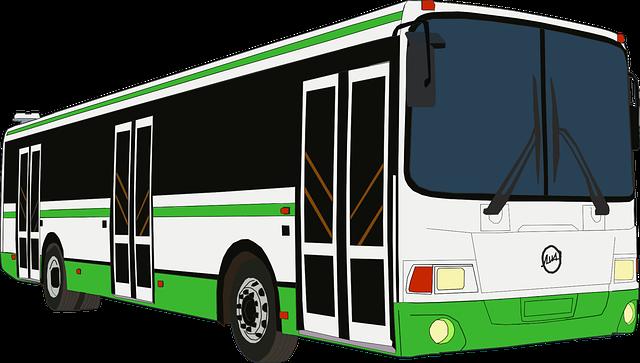 bílozelený bus